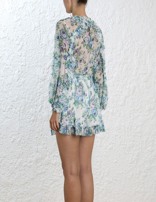 Zimmermann Whitewave Ruffle Playsuit - The Dressing Room Hire
